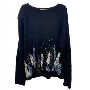 Vintage Sequin Sweater Black with embellishments L